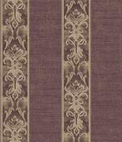 Elsa Blackberry Alternating Damask Stripe Wallpaper