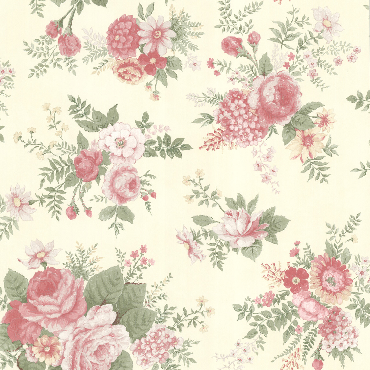 Buy Rosa Pink Floral Medley 302 66855 By Brewster Wallcovering