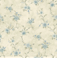 Elizabeth Aqua Floral Trail Wallpaper