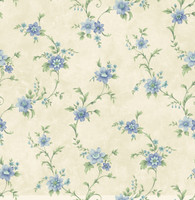 Elizabeth Blue Floral Trail Wallpaper