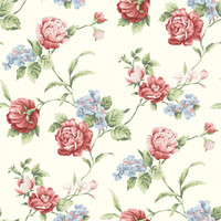 Gleason Red Floral Rose Trail Wallpaper