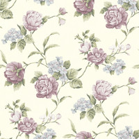 Gleason Purple Floral Rose Trail Wallpaper