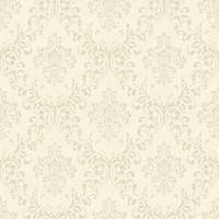 Golden Beige Damask Wallpaper
