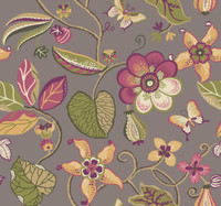 platinum, sprout green, mustard, coral, purple, olive green, tan, white  Carey Lind Vibe  Sea Floral Wallpaper