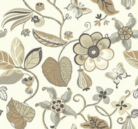 cream, tan, cocoa brown, medium grey, charcoal grey, silver, pale gold Carey Lind Vibe  Sea Floral Wallpaper
