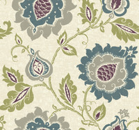 beige, silver, taupe, teal, purple, lime Carey Lind Vibe  Jaco Floral Wallpaper