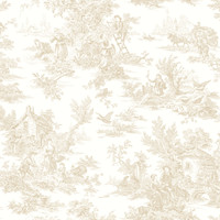 Black & White Campagne Toile Wallpaper  Ab1948 By York Wallcovering