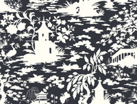 Black & White Asian Scenic Wallpaper  Ab2006 By York Wallcovering