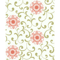 Silhouettes Daisy Medallion With Scrolls AP7457 Wallpaper