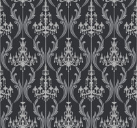 Black & White Chandelier  Damask Wallpaper Ab2169 By York Wallcovering