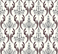 Black & White Chandelier  Damask Wallpaper Ab2170 By York Wallcovering
