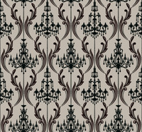 Black & White Chandelier  Damask Wallpaper Ab2171 By York Wallcovering