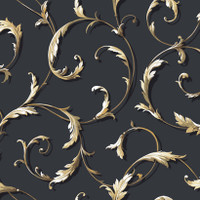 Black & White Acanthus Scr Oll Wallpaper Ah4713 By York Wallcovering