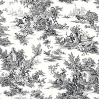 Black & White Campagne Toile Wallpaper  At4228 By York Wallcovering