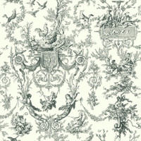 Black & White Campagne Toile Wallpaper  At4237 By York Wallcovering