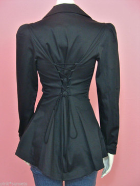 Betsey Johnson Black Lace up Corset Style Peplum Jacket