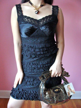 Betsey Johnson Black Ruffle and Lace Silk Dress Cocktail Evening Party