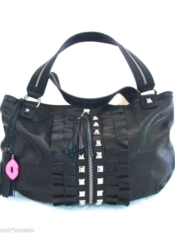 a37d7bc9597bb Betsey Johnson All Frills Leather Tossel Ruffle Lips Black Tote Bag