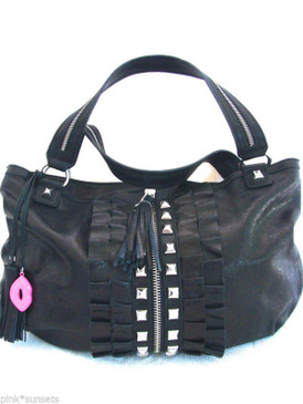 Betsey Johnson All Frills Leather Tossel Ruffle Lips Black Tote Bag
