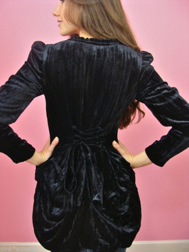 Betsey Johnson Black Crushed Velvet Bustle Jacket W/ Silk