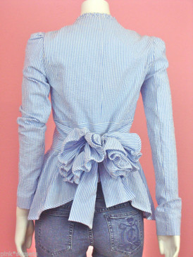 Betsey Johnson Blue Striped Seersucker Bustle Jacket Bow Back Peplum