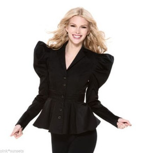 Betsey Johnson Black Peplum Flounce Puff Sleeve Jacket Runway Coat