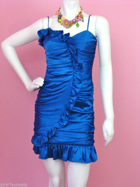 Betsey Johnson Blue Charmeuse Runway Real House Wife Dress