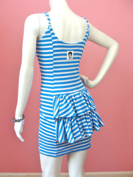 Betsey Johnson Archive Blue Striped Tail Feather Bustle Peplum Lycra Dress