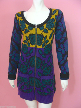 Betsey Johnson Boy George Cardigan Sweater Intarsia Flower Long Zip Tunic Dress