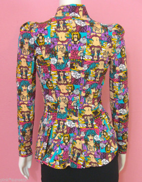 Betsey Johnson Cartoon Peplum Jacket Top Wink Marilyn Face Art Drawings