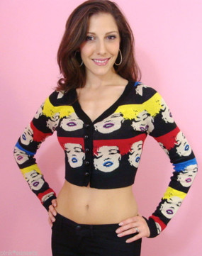 Betsey Johnson Betsey Babe Marilyn Cardigan Sweater Multi Face Wink Top