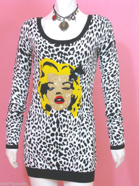 Betsey Johnson CHEETAH BETSEY BABE KNIT TUNIC Sequin Wink Marilyn Sweater Dress