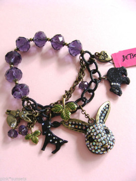 Betsey Johnson Dark Forest Rabbit Deer Fox Animal Purple Bead Stretch Bracelet