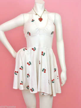 Betsey Johnson Cherry White Terry Embroidery Halter Dress