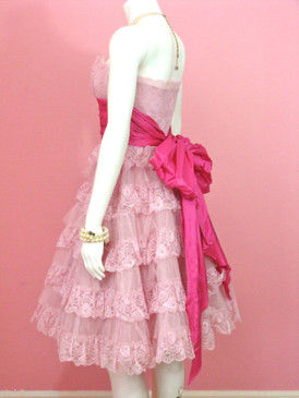Betsey Johnson Evening Pink Tea Party Dress Party Prom Cocktail Wedding