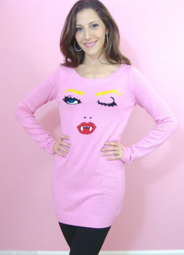Betsey Johnson Fang Sweater Dress Marilyn Wink Pink Knit Tunic