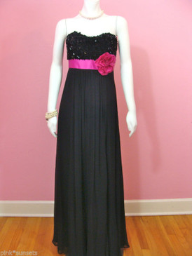 Betsey Johnson Evening Silk Sequins Charade Long Gown Black Dress Flower