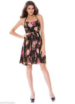 Betsey Johnson Flower Field Charmuse Halter Roses Dress Black Pink Betsey Rose