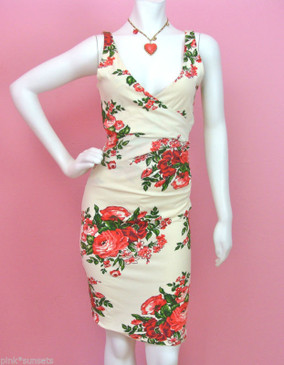 Betsey Johnson Cabbage Rose Lycra Sheath Dress Punk Archive Label