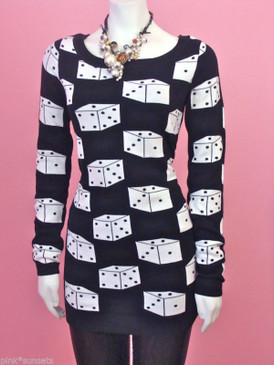 Betsey Johnson Dice Tunic Sweater Dress Runway Top Black White