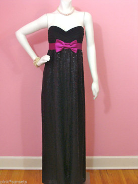 Betsey Johnson Evening Glitteratti Black Sequin Bow Silk Long Dress Gown