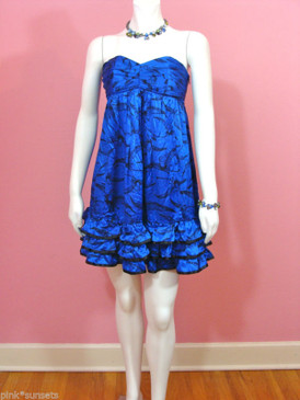 Betsey Johnson Day at the Museum Pterodactyl Bird Silk Blue Babydoll Dress
