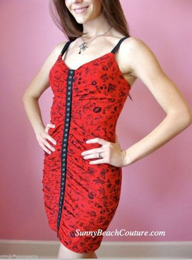 Betsey Johnson Creepy Crawly Red Spiders Lips Bugs Animal Stretch Dress