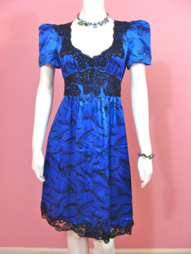 Betsey Johnson Cup of Coffee Pterodactyl Charm Silk Blue Sequin Frock Dress