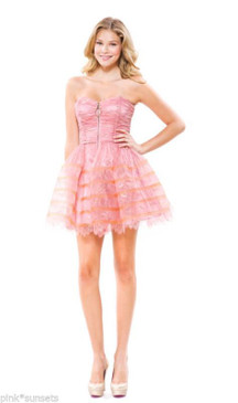 Betsey Johnson EVENING LACE FILM NOIR STRAPLESS DRESS PINK