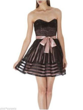 Betsey Johnson Evening Sequin & Striped Organza Strapless Dress Black Pink