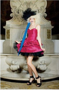 Betsey Johnson Evening Cherry Cordial Dress Pink W/ Bows Seen On Runway