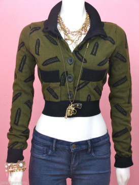 Betsey johnson Goth Guns Knit Cardigan Show Sweater Gun Bullet Olive Green