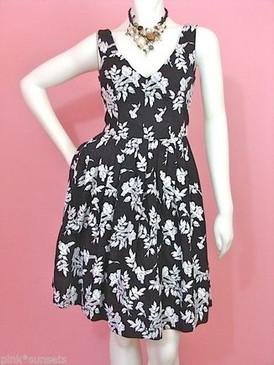 Betsey Johnson Floral Embroidered White Black Dress