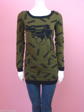 Betsey johnson Goth Guns Knit Tunic Show Sweater Gun Bullet Olive Green